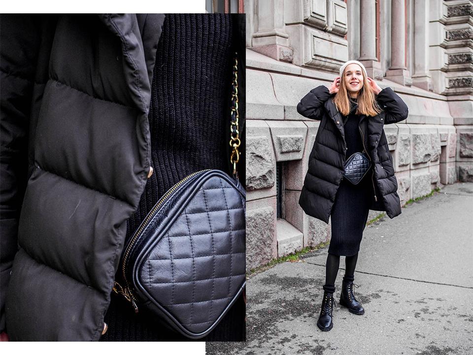 All black winter outfit, fashion details, lace up winter boots - Kokomusta talviasu, yksityiskohdat, muotiblogi, nauhalliset nilkkurit