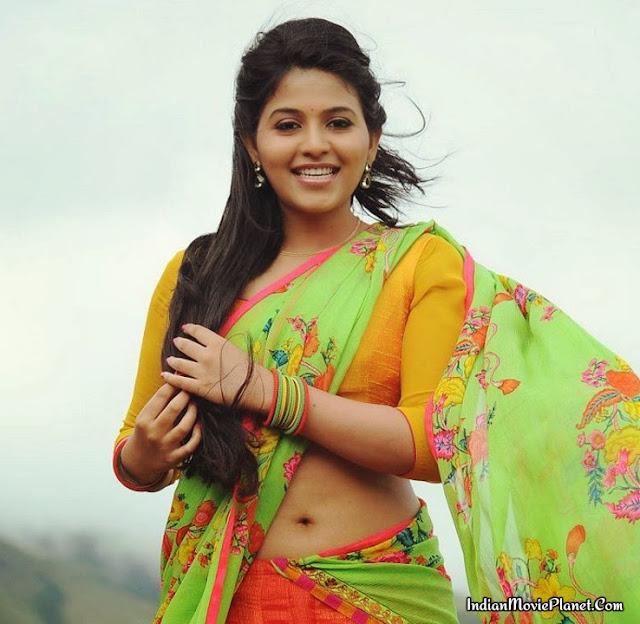 Actress Anjali Hot Beautiful Stills Yellow Half Saree
