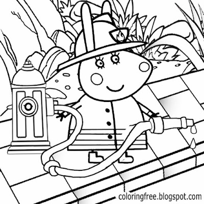 Black and white clipart Peppa pig cartoon fireman printable easy pictures to coloring for young kids