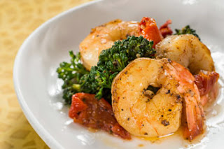 Garlic Shrimp with Tomatoes, Lemon, and Broccoli Rabe- 2013 Australia Marketplace The Recipes Of Disney Ingredients: 24 medium shrimp (16/20), peeled and deveined 1 tablespoon coarse salt 1 tablespoon freshly ground black pepper 1/4 tablespoon chili powder 3