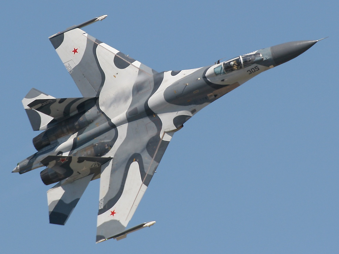 Russian Sukhoi Su27 warplane in action