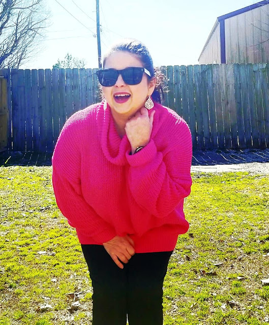 Fuchsia Polo Neck Oversize Sweater