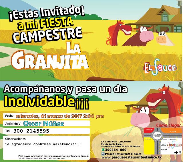 Invitaciones digitales para compartir fiesta cumpleaños campestre Bogota