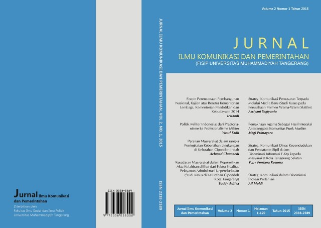 Jurnal Ilmu Komunikasi dan Pemerintahan Volume 2 Nomor 1
