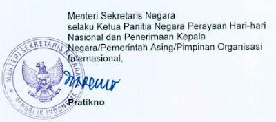 Tanda Tangan Menteri Sekretaris Negara