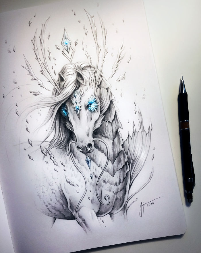 06-Sea-Horse-Jonas-Jödicke-jojoesart-Fantasy-Animal-Drawings-with-Souls-of-Nature-www-designstack-co