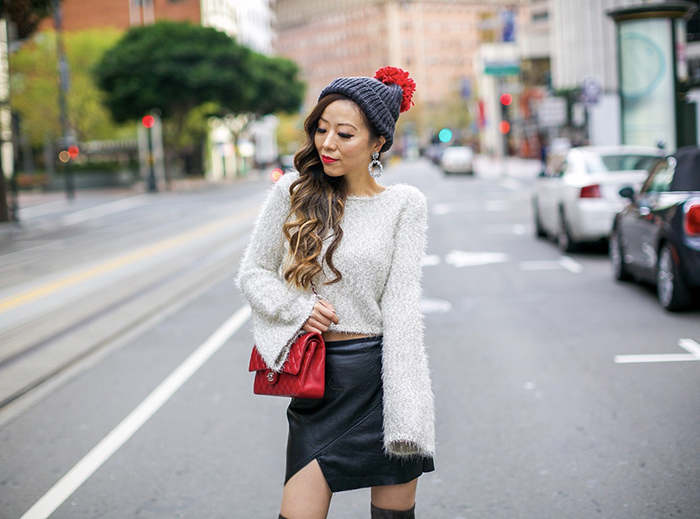red pom pom beanie, cropped metallic sweater, faux leather skirt, over the knee boots, chanel classic flap bag, san francisco style blog, san francisco street style, holiday outfit ideas