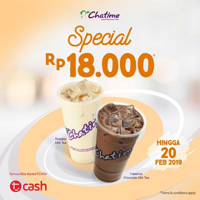 #Chatime - #Promo Special Hanya 18 Ribu Bayar Pakai TCASH (s.d 20 Feb 2019)