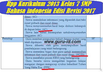 Gambar rpp bahasa indonesia kelas 7 kurikulum 2013 revisi 2017