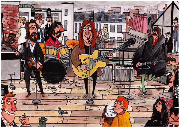 The Beatles play on the rooftop of their Savile Row office, January 1969