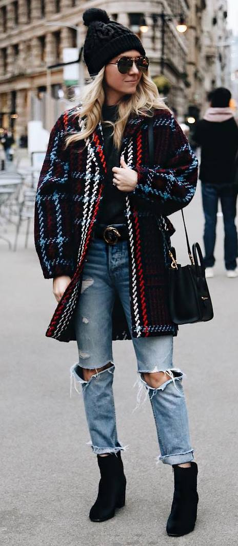 winter street style perfection / plaid coat + bag + sweater + hat + ripped jeans + boots