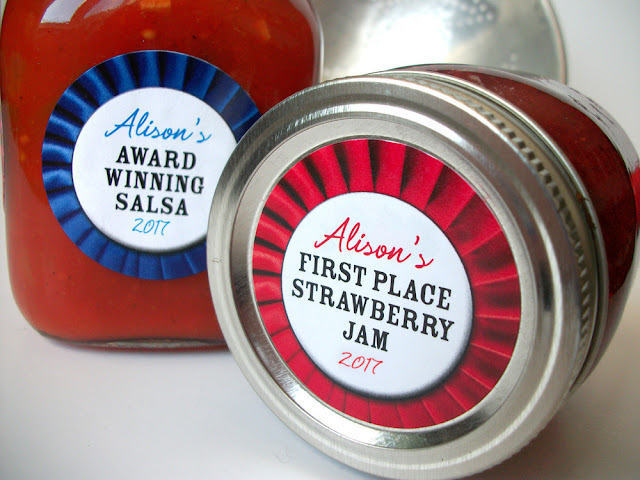 red & blue ribbon canning jar labels