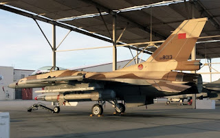 A moroccan air force f-16 jet in a hanger