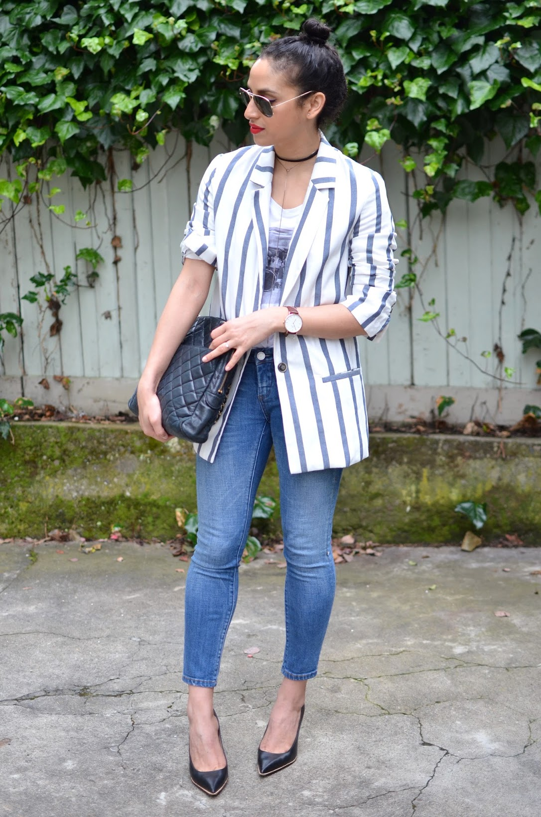stripe blazer, denim, Blank NYC denim, lariat, choker, ray-bans, vintage chanel