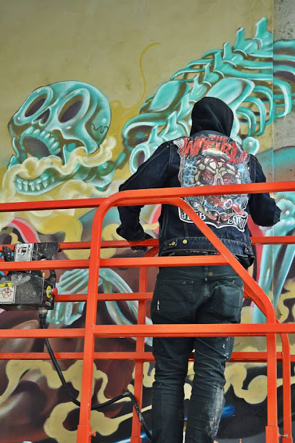 Street Artist Nychos Paints In Luxembourg City For Goodbye Monopol 2. 11