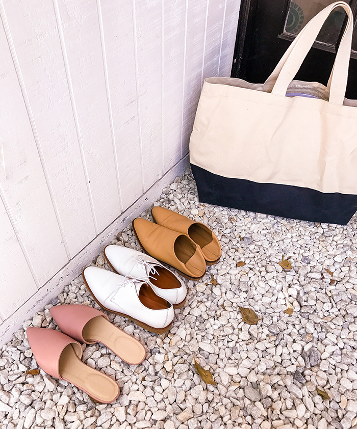 Everlane pointed slides, white oxfords, everlane babo loafers, everlane beach tote, beach tote, shoe of the day, minimalism shoes, everyday shoes, san francisco fashion blog, san francisco street style