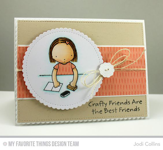 Handmade card from Jodi Collins featuring Pure Innocence Crafty Friends stamp set, Vintage Buttons, Vertical Stitched Strips, Stitched Mini Scallop Circle STAX, and Blueprints 13 Die-namics #mftstamps