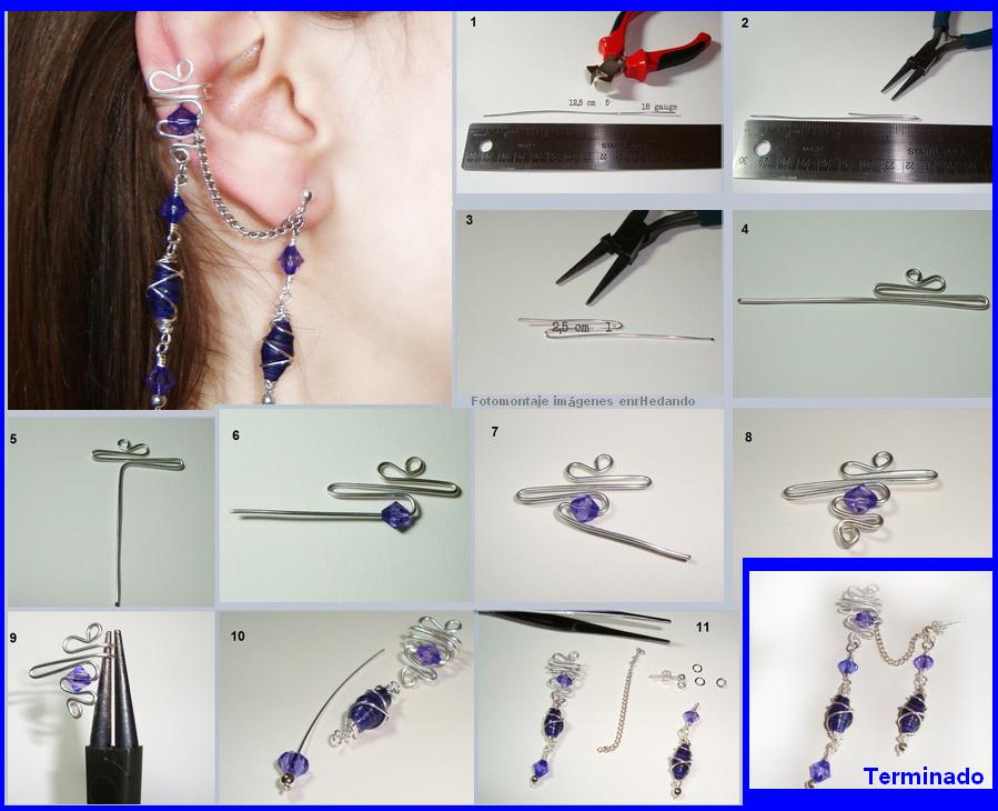 pendientes, sin agujeros, earrings, bisutería, alambre