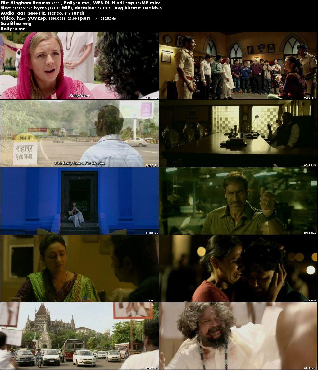 Singham Returns 2014 WEB-DL 950MB Hindi Movie 720p ESub Download