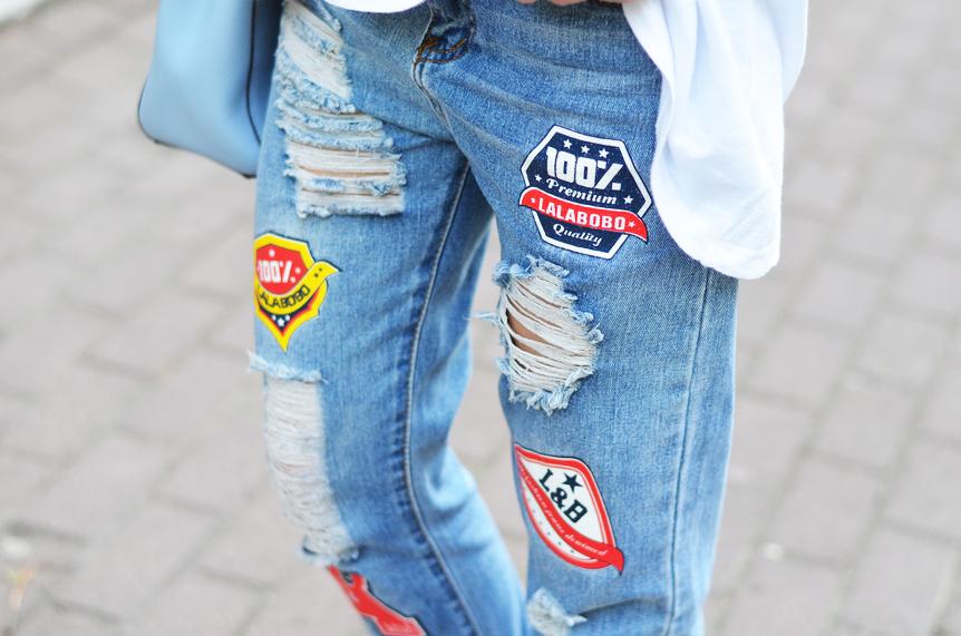 jeansy z naszywkami