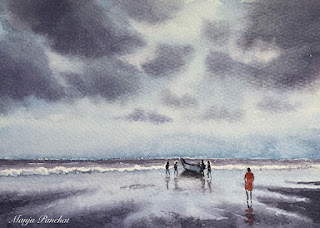 A water colour painting of a beach on Arches paper by Indian artist Manju Panchal