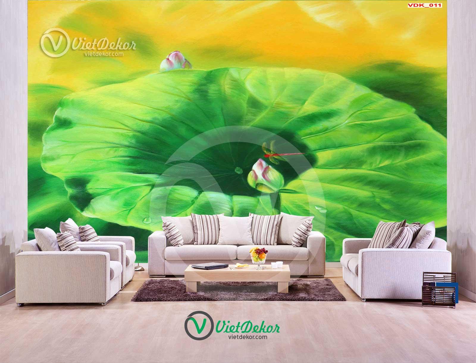 Tranh dán tường 3d phong cảnh nụ hoa sen