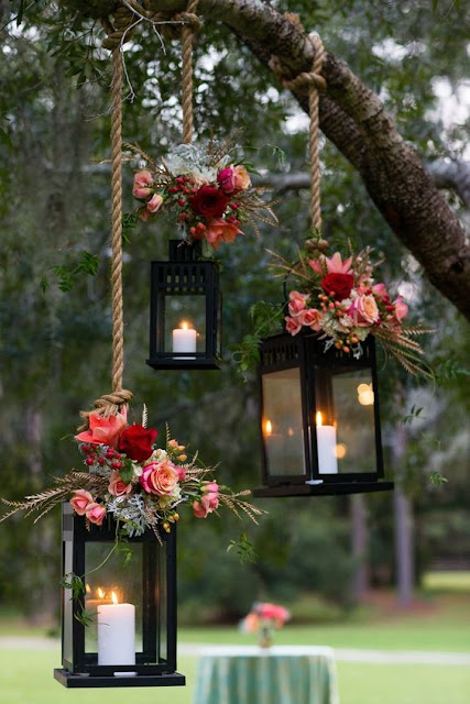 hanging fall wedding lanterns