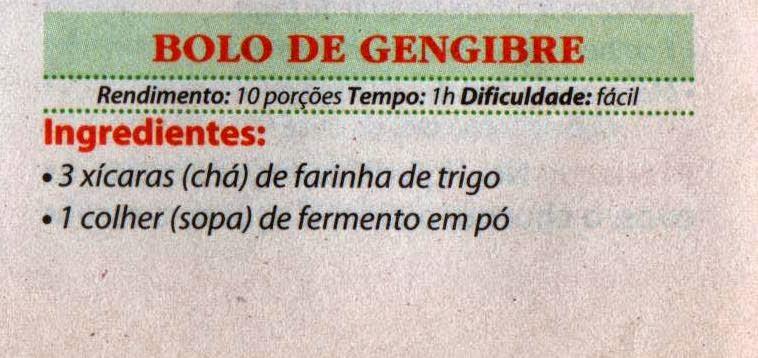 RECEITA DE BOLO DE GENGIBRE