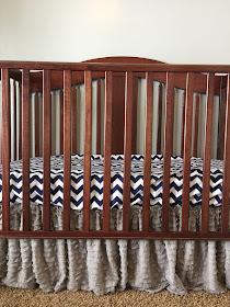 Gray Ruffle Crib Skirt