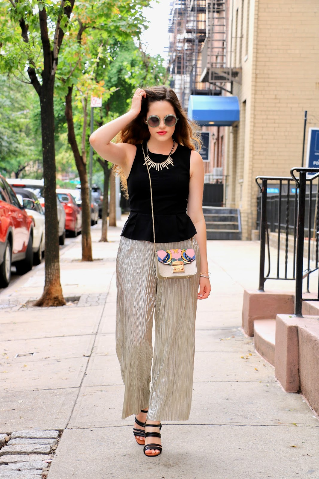 nyc fashion blogger Kathleen Harper wearing gold culottes for office style