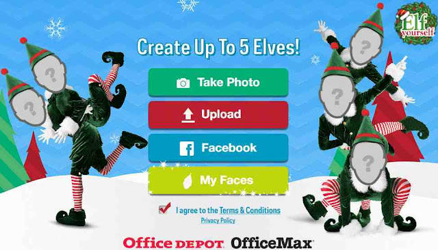 Elf Yourself pagina iniziale caricare foto viso