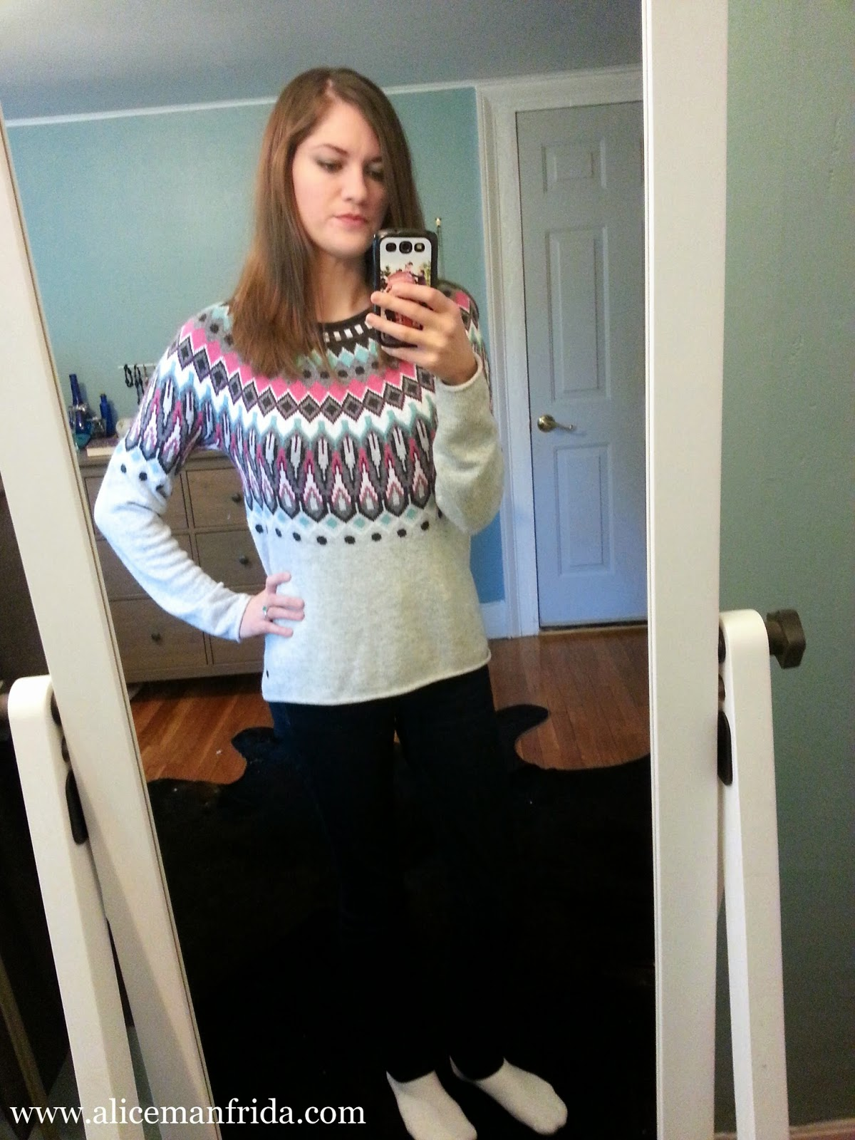 ootd, ski sweater, skinny jeans, autumn, cloudy day