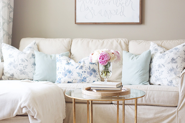 living room pillows. The other thing pillows do is make a living space feel inviting and homey  And I m all about creating warm environment for us our guests New Pillows Our Sofa Caitlin Wilson Textiles Giveaway