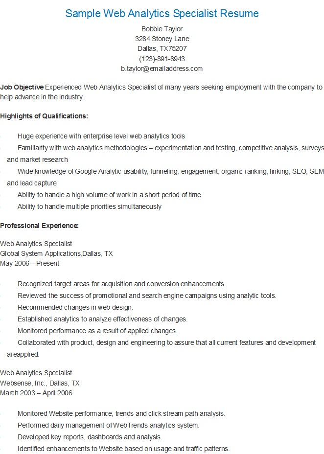 resume samples  sample web analytics specialist resume