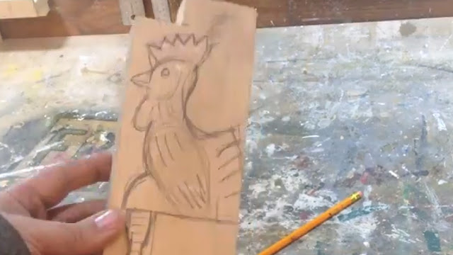 wooden chicken drawing design