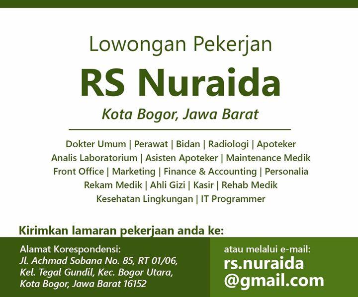 Lowongan Kerja Medis Terbaru Di Rs Nuraida Kota Bogor