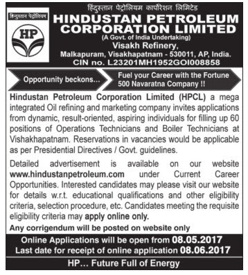 HPCL Recruitment 2017 hindustanpetroleum.com Apply Online Form