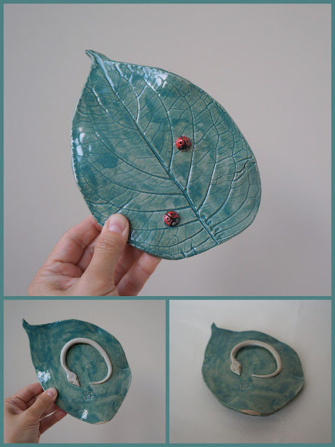 Beautiful hydrangea leaf ceramic plate with ladybugs, pottery by Lily L.