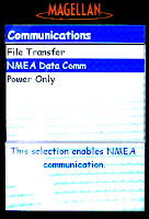 [Image: Screenshot of the device's UI. It shows the Communications menu, with the items File Transfer, NMEA Data Comm (selected), and Power Only. The selected item has a description 'This selection enabled NMEA communication'. The font is Comic Sans MS.]