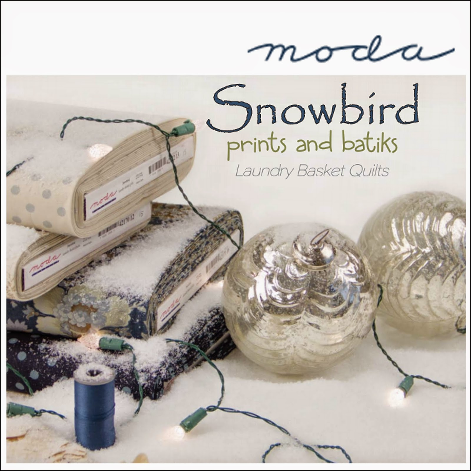 Moda SNOWBIRD Prints and Batiks Christmas Quilt Fabric by Laundry Basket Quilts for Moda Fabrics