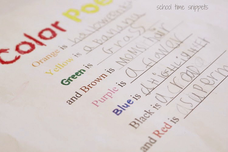 writing a color poem