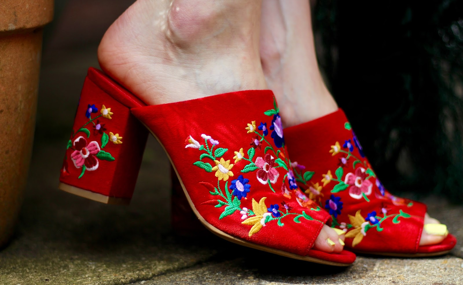 Red Embroidered Mules | Fake Fabulous