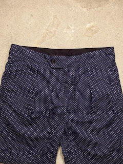 "Engineered Garments ""Sunset Short in Dk.Navy Polka Dot"""