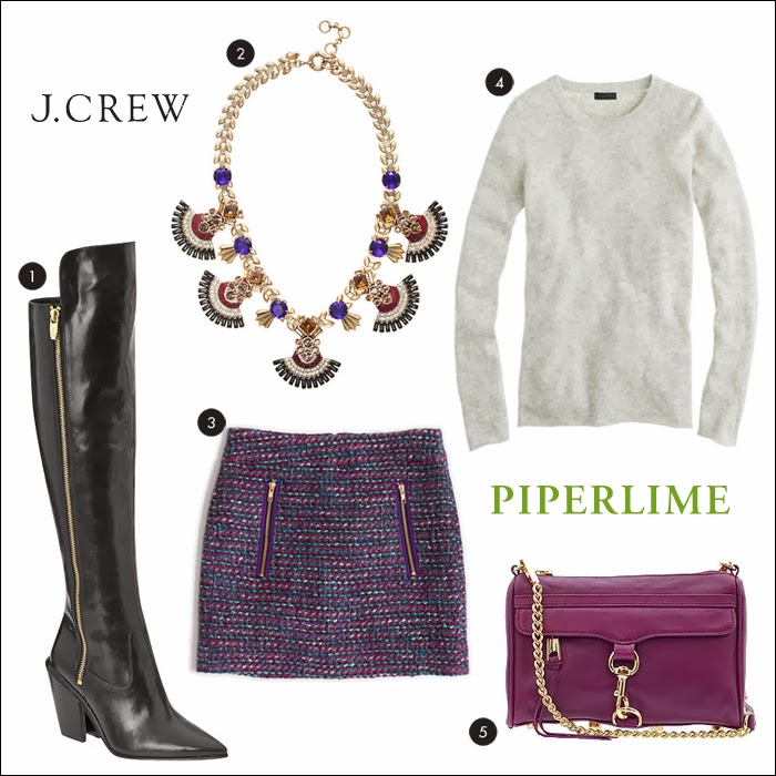 tweed, mini, over the knee, OTK, boots, rebecca minkoff, j.crew, piperlime, statement necklace