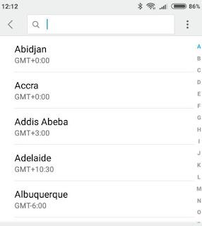 Fusi orari Android