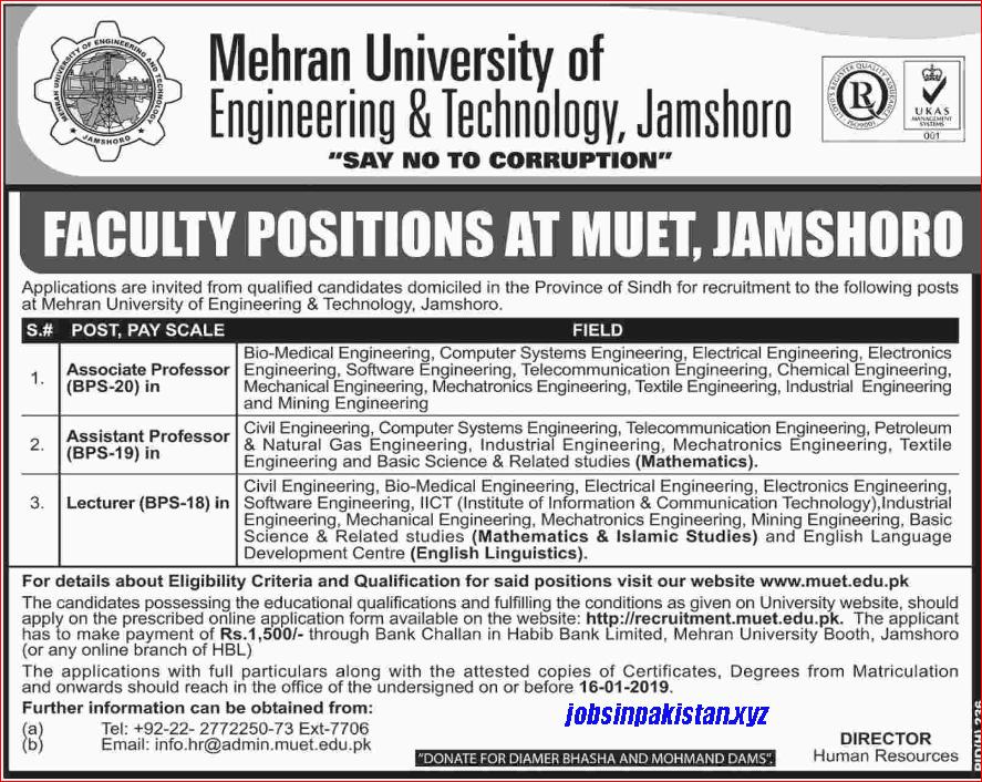 Advertisement for MUED Jobs December 2018