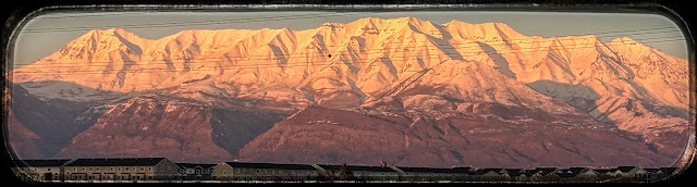 The Beautiful Utah Snow Covered Mountains all Lit Up Pink.