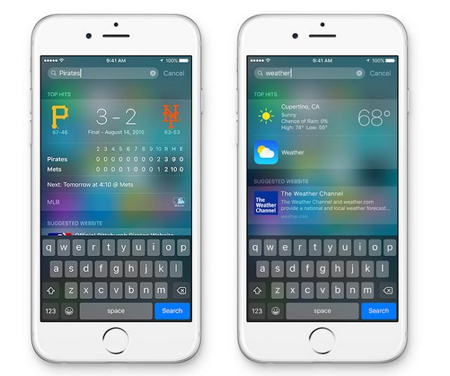 Gambar tampilan fitur pencarian pada iOS 9 terbaru