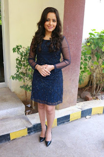Actress Aanchal Stills in Blue Short Dress at Sei Movie Launch 0019.jpg
