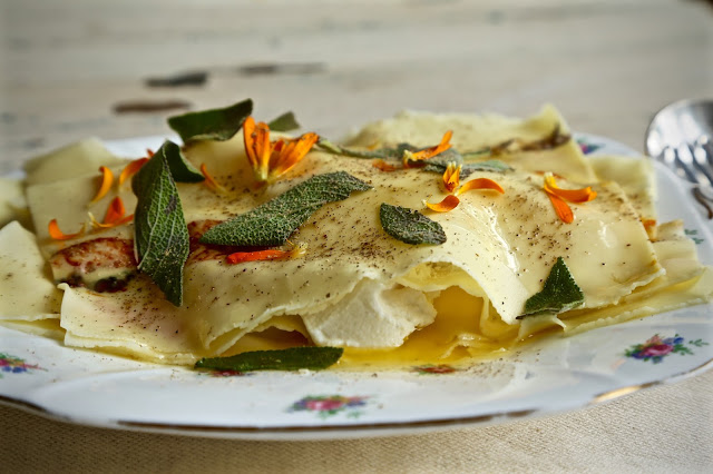 Fresh flower pasta with ricotta and sage butter recipe